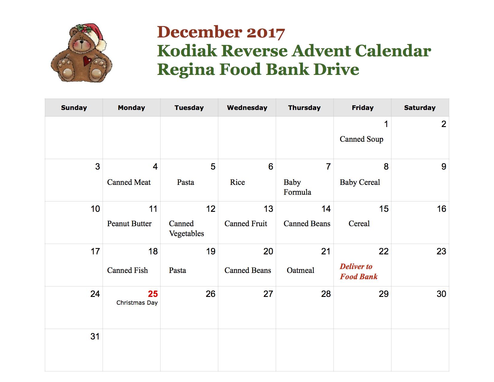Christmas calendar food bank drive