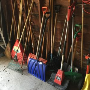 A Collection of Snow Shovels in Saskatchewan