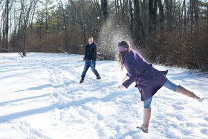 Having a Winter Snowball Fight in Regina