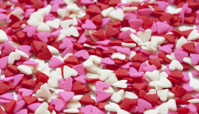 Funky Red, White and Pink Hearts