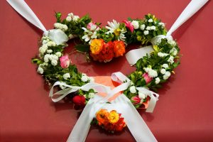 Flowered Wreath for a Valentines Day Celebration